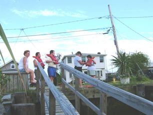Racers at the top of the dock